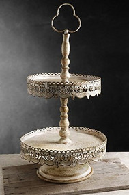 "12"" Off White Two Tier Dessert Food Tray Stand"