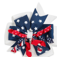 Red, White & Blue Childs Hair Clip Bow