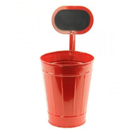 Red Tin Planter/Container w/ Chalkboard - Medium 11""