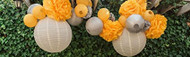 Party Yellow and Silver Paper Hanging Lantern and Pom Pom Set,  Set of 22 Pcs