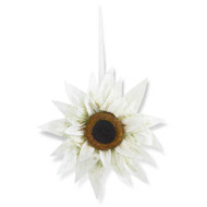 30 Inch White Sunflower Wreath, Hanging