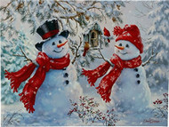 Snowman Couple Lighted Print