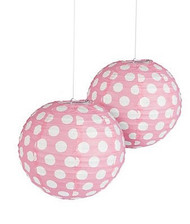 "Light Pink Polka Dot Paper Lantern - 12"" - Set of 2"