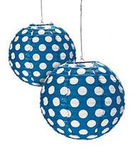 "Navy Blue Polka Dot Paper Lantern - 12"" - Set of 2"