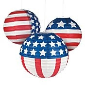 "Stars and Stripes Paper Lanterns - 12"" - Set of 3"
