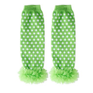 Baby Girls Green & White Leg Warmers with Chiffon Ankles