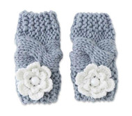 Baby Girls Gray Flower Knit Leg Warmers