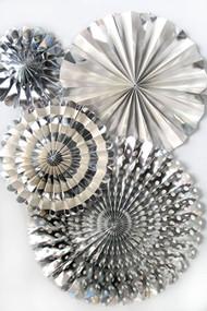 Silver Foil Paper Rosettes Party Fans