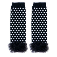 Baby Girls Black & White Leg Warmers with Chiffon Ankles