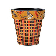 "Studio M Chickadee Plaid 15"" Art Pot Planter"