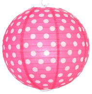 "Fuchsia Polka Dot Lantern - 14"" - Set of 2"