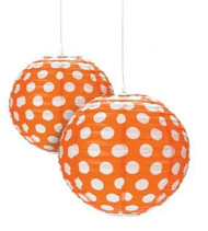 "Orange Polka Dot Paper Lantern - 12"" - Set of 2"