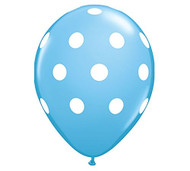 "11"" Baby Blue & White Polka Dot Latex Balloon - Set of 6"
