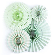 Mint Paper Rosettes Party Fans