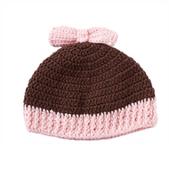 Baby Girls Pull On Brown Crocheted Hat with Pink Bow