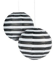 "Black Striped Paper Lantern - 12"" - Set of 2"