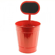 """Red Tin Planter/Container w/ Chalkboard - Large 12-1/2"""""""