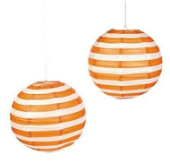"Orange Striped Paper Lantern - 12"" - Set of 2"