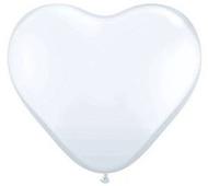 """11"""" White Latex Heart Balloons - Pkg of 6"""