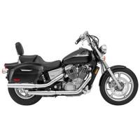 Honda 1100 Shadow Spirit Viking Lamellar Extra Large Shock Cutout Leather Covered Saddlebag 1