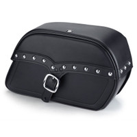 Honda 750 Shadow RS Charger Large Single Strap Studded Leather Saddlebags