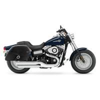 Harley Dyna Fat Bob FXDF Armor Shock Cutout Leather Saddlebags 2