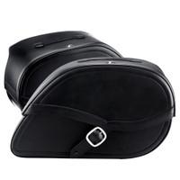 Harley Dyna Fat Bob FXDF Armor Shock Cutout Leather Saddlebags 4