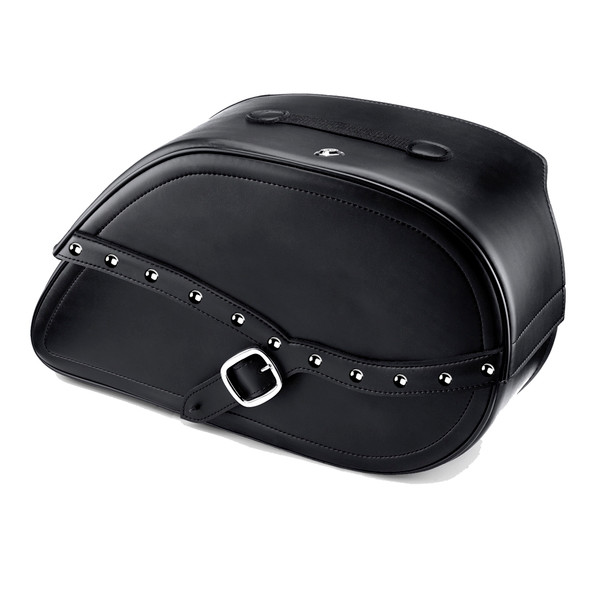Harley Dyna Fat Bob FXDF Armor Shock Cutout Studded Leather Saddlebags