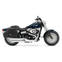 Harley Dyna Fat Bob FXDF Charger Single Strap Leather Saddlebags 2