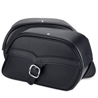 Harley Dyna Fat Bob FXDF Charger Single Strap Leather Saddlebags 4