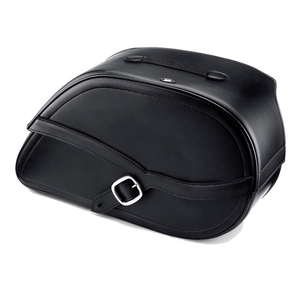 Harley Dyna Low Rider FXDL Armor Shock Cutout Leather Saddlebags