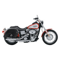 Harley Dyna Low Rider FXDL Armor Shock Cutout Leather Saddlebags 2