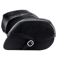 Harley Dyna Low Rider FXDL Armor Shock Cutout Leather Saddlebags 4