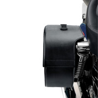Harley Dyna Low Rider FXDL Armor Shock Cutout Leather Saddlebags 6