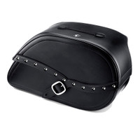 Harley Dyna Low Rider FXDL Armor Shock Cutout Studded Leather Saddlebags