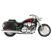 Honda VTX 1800 C Lamellar Slanted Leather Covered Hard Saddlebags 2