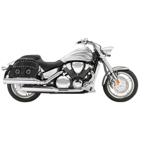 Honda VTX 1800 F Charger Large Slanted Studded Leather Saddlebags