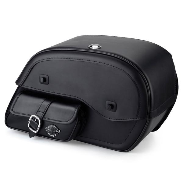 Honda VTX 1800 F Charger Side Pocket Shock Cutout Leather Saddlebags  1