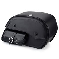 Honda VTX 1800 N Charger Side Pocket Shock Cutout Leather Saddlebags  1