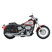 Harley Dyna Low Rider FXDL Shock Cutout Large Slanted Leather Saddlebags 2