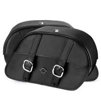Harley Dyna Low Rider FXDL Shock Cutout Large Slanted Leather Saddlebags 4