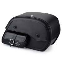 Honda VTX 1800 T Charger Side Pocket Shock Cutout Leather Saddlebags  1