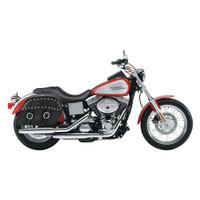 Harley Dyna Low Rider FXDL Shock Cutout Large Slanted Studded Leather Saddlebags 2