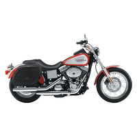 Harley Dyna Low Rider FXDL Spear Shock Cutout Leather Saddlebags  2