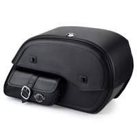 Harley Dyna Street Bob Charger Side Pocket Shock Cutout Leather Saddlebags 1