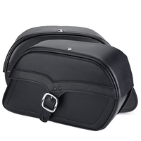 Kawasaki Vulcan 900 Classic Charger Large Single Strap Leather Saddlebags 3