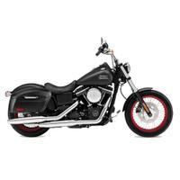 Harley Dyna Street Bob FXDB Viking Lamellar Extra Large Shock Cutout Leather Covered Saddlebag 2