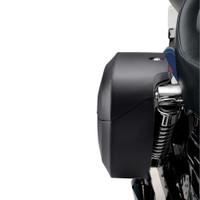 Harley Dyna Street Bob FXDB Viking Lamellar Extra Large Shock Cutout Leather Covered Saddlebag 7