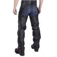 Nomad Elastic Fit Leather Motorcycle Chap Back Side View