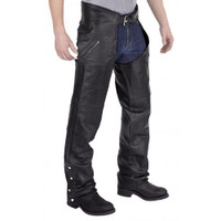 Nomad Elastic Fit Leather Motorcycle Chap Front Side View